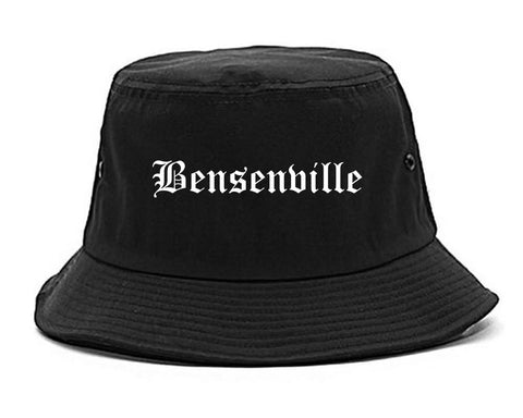 Bensenville Illinois IL Old English Mens Bucket Hat Black