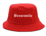 Bensenville Illinois IL Old English Mens Bucket Hat Red