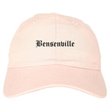 Bensenville Illinois IL Old English Mens Dad Hat Baseball Cap Pink