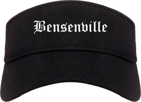 Bensenville Illinois IL Old English Mens Visor Cap Hat Black