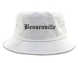Bensenville Illinois IL Old English Mens Bucket Hat White