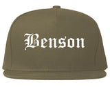 Benson Arizona AZ Old English Mens Snapback Hat Grey