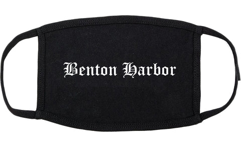 Benton Harbor Michigan MI Old English Cotton Face Mask Black