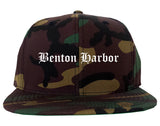 Benton Harbor Michigan MI Old English Mens Snapback Hat Army Camo