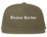 Benton Harbor Michigan MI Old English Mens Snapback Hat Grey