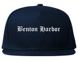 Benton Harbor Michigan MI Old English Mens Snapback Hat Navy Blue