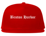 Benton Harbor Michigan MI Old English Mens Snapback Hat Red