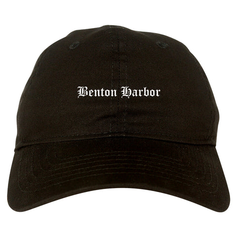 Benton Harbor Michigan MI Old English Mens Dad Hat Baseball Cap Black