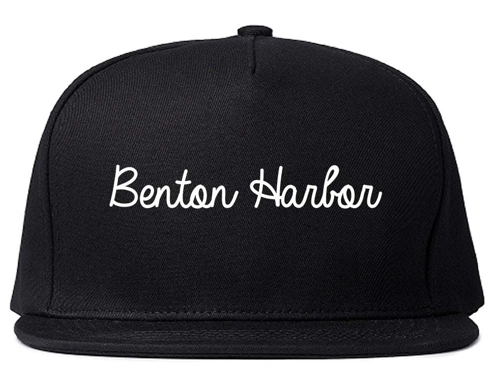 Benton Harbor Michigan MI Script Mens Snapback Hat Black