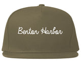 Benton Harbor Michigan MI Script Mens Snapback Hat Grey