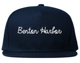 Benton Harbor Michigan MI Script Mens Snapback Hat Navy Blue