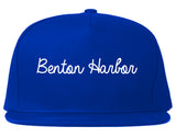 Benton Harbor Michigan MI Script Mens Snapback Hat Royal Blue