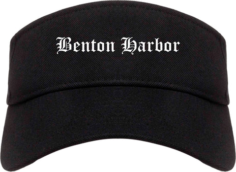 Benton Harbor Michigan MI Old English Mens Visor Cap Hat Black