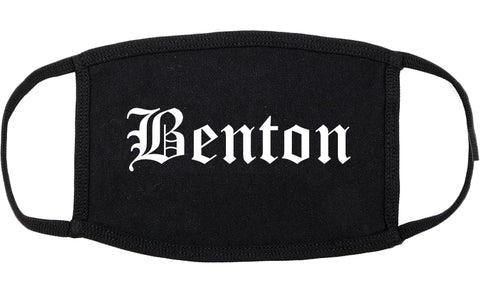 Benton Illinois IL Old English Cotton Face Mask Black