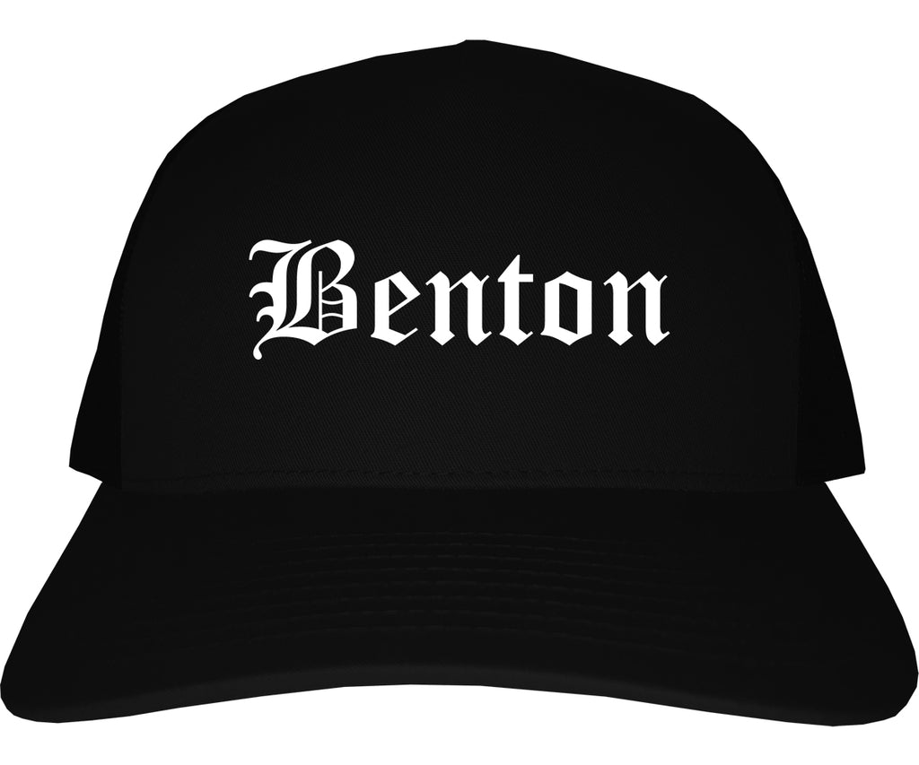 Benton Illinois IL Old English Mens Trucker Hat Cap Black