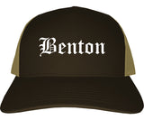 Benton Illinois IL Old English Mens Trucker Hat Cap Brown