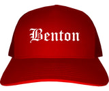 Benton Illinois IL Old English Mens Trucker Hat Cap Red