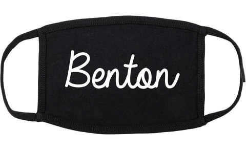 Benton Illinois IL Script Cotton Face Mask Black
