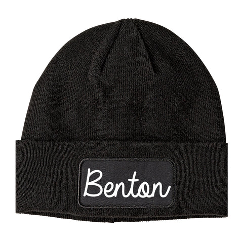 Benton Illinois IL Script Mens Knit Beanie Hat Cap Black