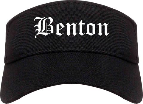 Benton Illinois IL Old English Mens Visor Cap Hat Black