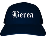 Berea Kentucky KY Old English Mens Trucker Hat Cap Navy Blue
