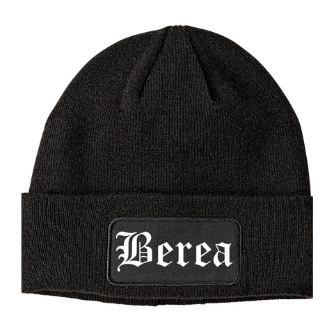 Berea Ohio OH Old English Mens Knit Beanie Hat Cap Black