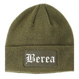 Berea Ohio OH Old English Mens Knit Beanie Hat Cap Olive Green