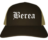 Berea Ohio OH Old English Mens Trucker Hat Cap Brown