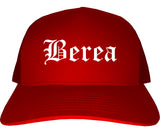 Berea Ohio OH Old English Mens Trucker Hat Cap Red