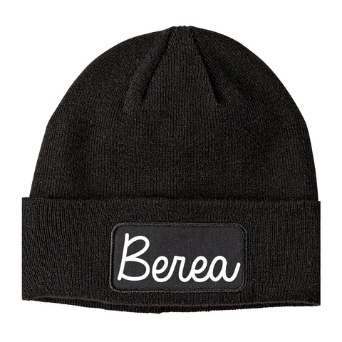 Berea Ohio OH Script Mens Knit Beanie Hat Cap Black