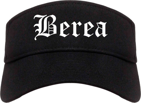 Berea Ohio OH Old English Mens Visor Cap Hat Black