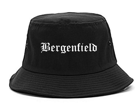 Bergenfield New Jersey NJ Old English Mens Bucket Hat Black