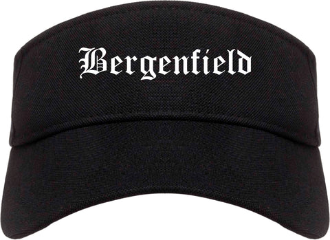 Bergenfield New Jersey NJ Old English Mens Visor Cap Hat Black