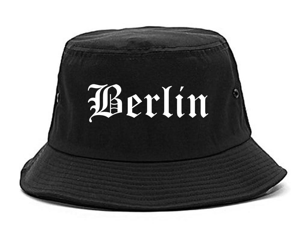 Berlin New Hampshire NH Old English Mens Bucket Hat Black