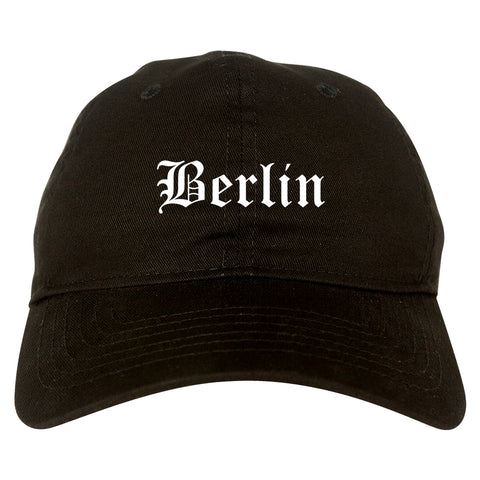 Berlin New Hampshire NH Old English Mens Dad Hat Baseball Cap Black