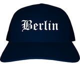 Berlin New Hampshire NH Old English Mens Trucker Hat Cap Navy Blue