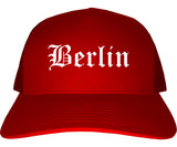 Berlin New Hampshire NH Old English Mens Trucker Hat Cap Red