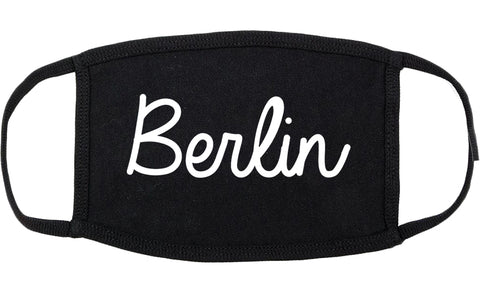 Berlin New Hampshire NH Script Cotton Face Mask Black