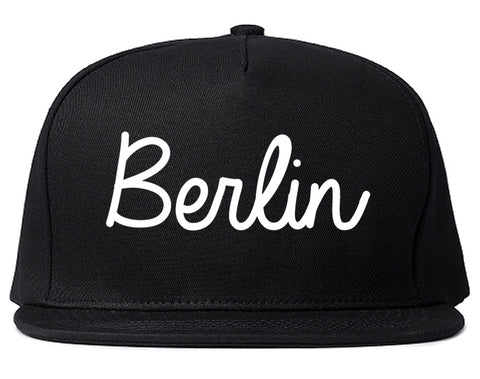 Berlin New Hampshire NH Script Mens Snapback Hat Black
