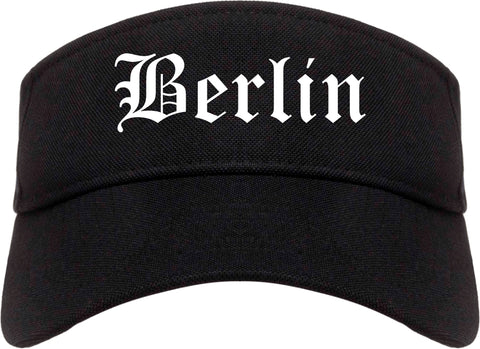 Berlin New Hampshire NH Old English Mens Visor Cap Hat Black