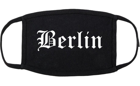 Berlin New Jersey NJ Old English Cotton Face Mask Black