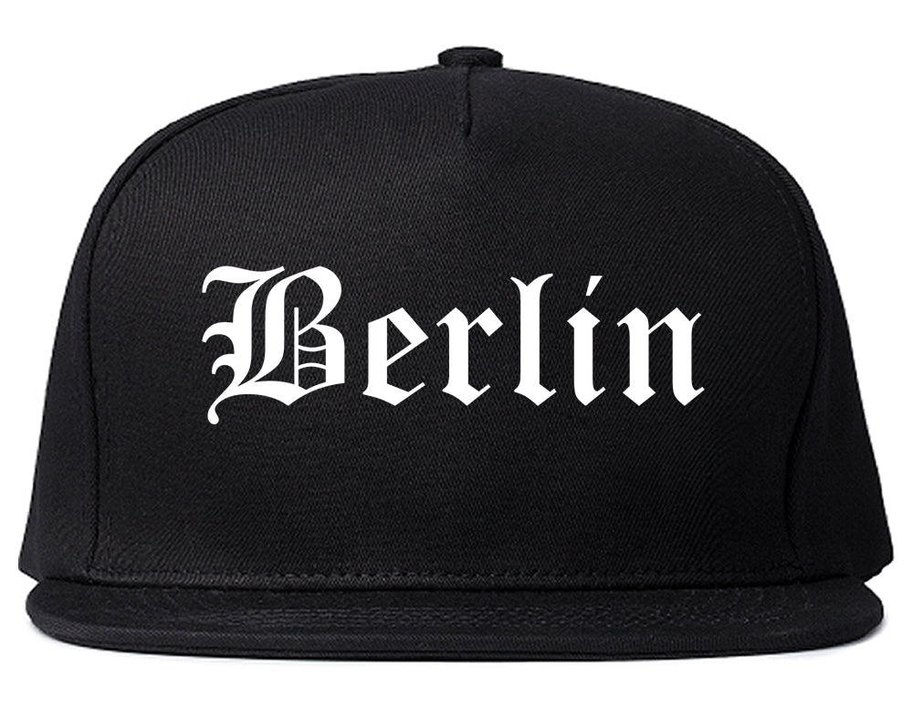 Berlin Wisconsin WI Old English Mens Snapback Hat Black