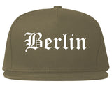 Berlin Wisconsin WI Old English Mens Snapback Hat Grey
