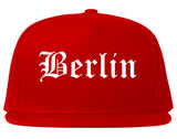 Berlin Wisconsin WI Old English Mens Snapback Hat Red