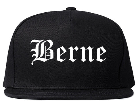 Berne Indiana IN Old English Mens Snapback Hat Black