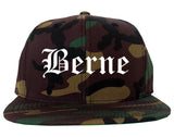 Berne Indiana IN Old English Mens Snapback Hat Army Camo