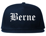Berne Indiana IN Old English Mens Snapback Hat Navy Blue