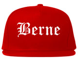 Berne Indiana IN Old English Mens Snapback Hat Red