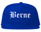 Berne Indiana IN Old English Mens Snapback Hat Royal Blue