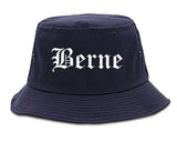 Berne Indiana IN Old English Mens Bucket Hat Navy Blue